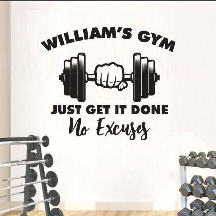 Custom Name No Excuses Home Gym Wall Decal, Home Gym Vinyl Wall Sticker, Gym Room Decor