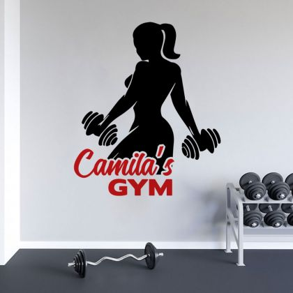 Custom Name Girls Home Gym Wall Decal, Home Gym Vinyl Wall Sticker, Gym Room Decor
