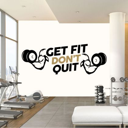 Get Fit Dont Quit Home Gym Wall Decal, Home Gym Vinyl Wall Sticker, Gym Room Decor