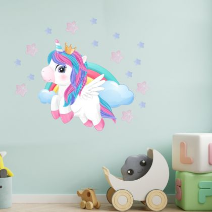 Stars Unicorn Flying Wall Decal Stickers Fantasy Girls Bedroom Wall Art Cute Nursery