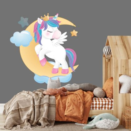 Unicorn Sleeping in Moon Wall Decal Stickers Fantasy Girls Bedroom Wall Art Cute Nursery