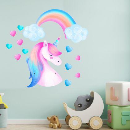 Stars Unicorn Rainbow Wall Decal Stickers Fantasy Girls Bedroom Wall Art Cute Nursery
