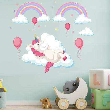 Unicorn in Clouds Wall Decal Stickers Fantasy Girls Bedroom Wall Art Cute Nursery