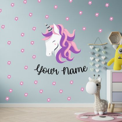 Custom Name Unicorn wall sticker, unicorn wall decal, Flower room decor, unicorn room decor, unicorn horn