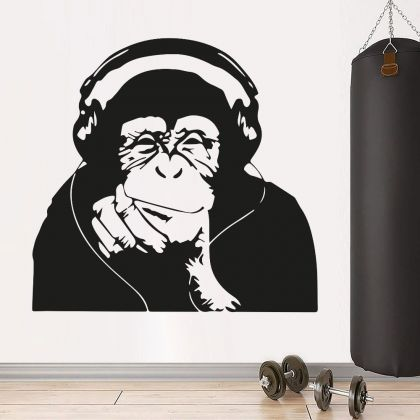 Banksy Thinking Monkey with Headphones Vinyl Wall Decal DJ Monkey Thinker Smart Decal