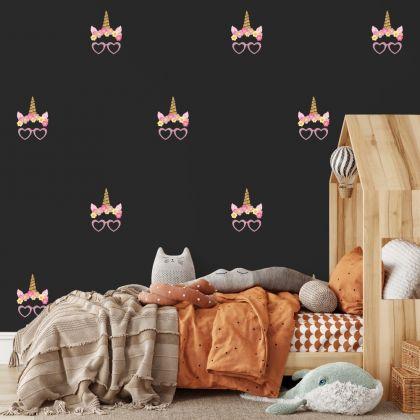 Unicorn Horn wall sticker, unicorn wall decal, Flower room decor, unicorn room décor