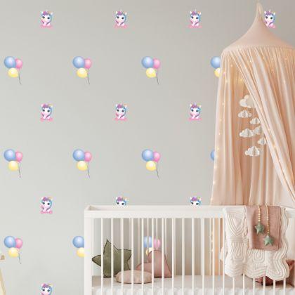 Unicorn wall sticker, unicorn wall decal, Baloon room decor, unicorn room décor