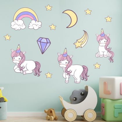 Unicorn wall sticker, Clouds wall decal, Star room decor, unicorn room décor