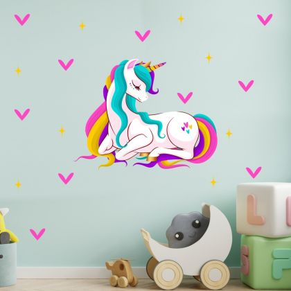 Stars with Unicorn Wall Decal Stickers Fantasy Girls Bedroom Wall Art Cute Nursery