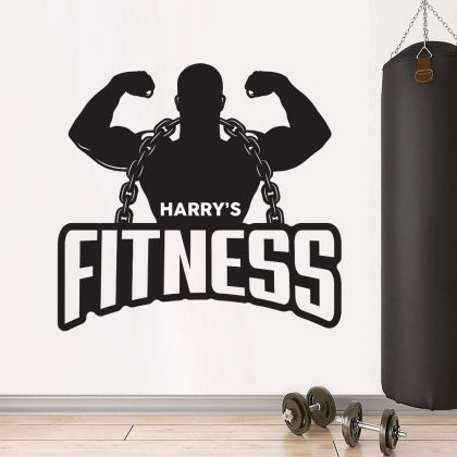 Personalized Home Gym Fitness Wall Decal, Custom Name Gym Room Decor, Home Gym Vinyl Wall Sticker