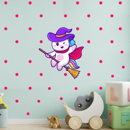 Flying Unicorn with Polka Dots Wall Decal Stickers Fantasy Girls Bedroom Wall Art Cute Nursery