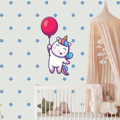 Unicorn with Baloon Wall Decal Stickers Fantasy Girls Bedroom Wall Art Cute Nursery