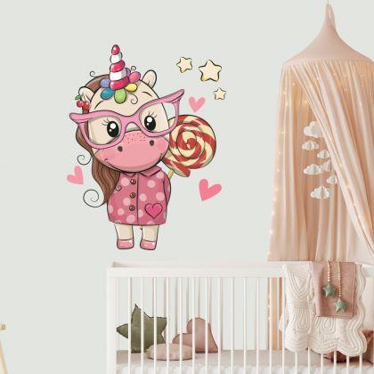 Unicorn Wall Sticker with Lollipop Wall Decal Stickers Fantasy Girls Bedroom Wall Art Cute Nursery