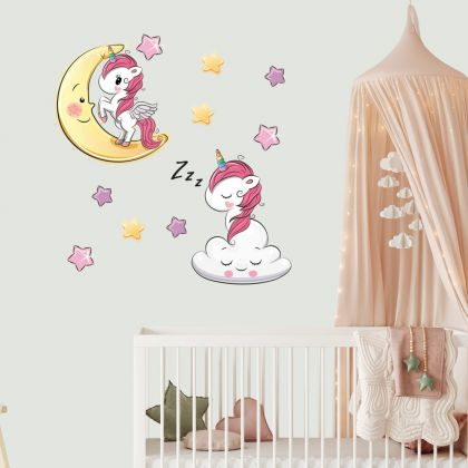 Unicorn Wall Sticker with Star Wall Decal Stickers Fantasy Girls Bedroom Wall Art Cute Nursery