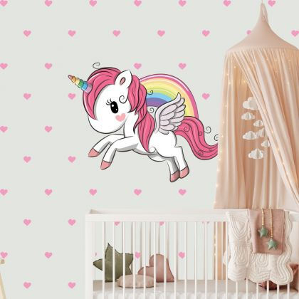 Unicorn Wall Sticker with Hearts Wall Decal Stickers Fantasy Girls Bedroom Wall Art Cute Nursery