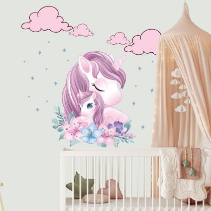 Unicorn Wall Sticker with Cloud and Polka Dots Wall Decal Stickers Fantasy Girls Bedroom Wall Art Cute Nursery
