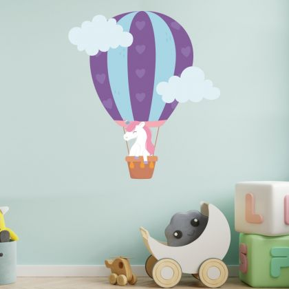 Parachute Unicorn Wall Sticker with Clouds Wall Decal Stickers Fantasy Girls Bedroom Wall Art Cute Nursery