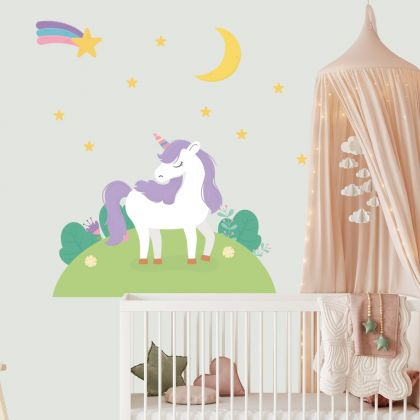 Unicorn Wall Sticker with Shooting Star Wall Decal Stickers Fantasy Girls Bedroom Wall Art Cute Nursery