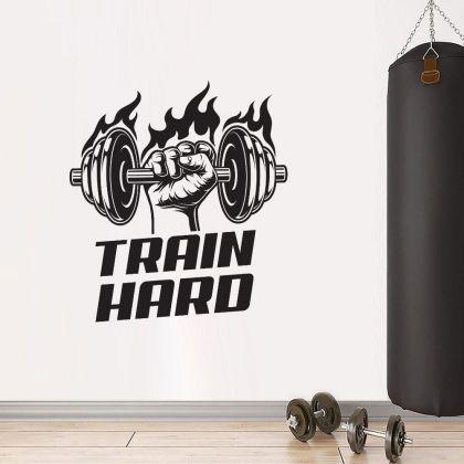 Train Hard Home Gym Fitness Wall Decal, Train Hard Gym Room Decor, Fitness Home Gym Vinyl Wall Sticker