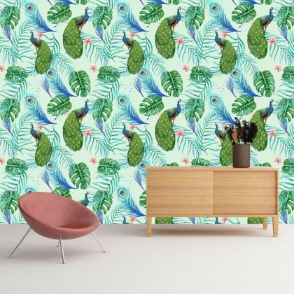 Floral Peacock Tropical Removable Wallpaper, Vintage Wall Mural
