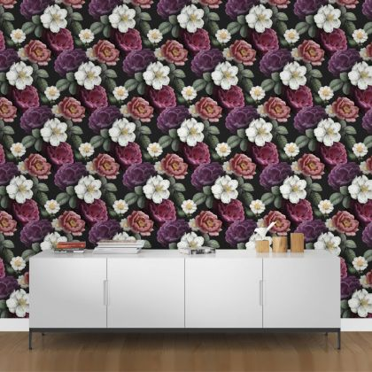 Dark Floral Roses Removable Wallpaper, Vintage Wall Mural