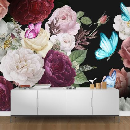 Dark Floral Roses with Blue Butterfly Removable Wallpaper, Vintage Wall Mural