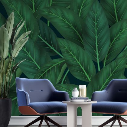 Green Tropical leaves removable wallpaper, Leaf wall mural