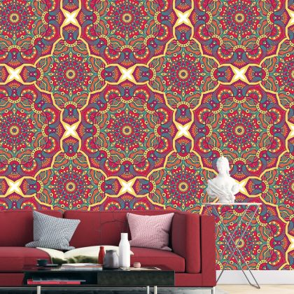 Multicolour Vintage Mandela Pattern Removable Wallpaper
