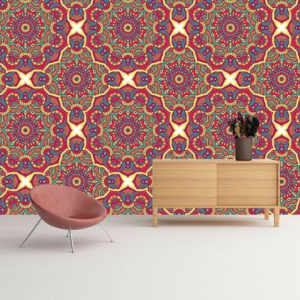 Multicolour Vintage Mandela Pattern Removable Wallpaper