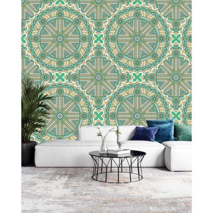 Green Vintage Mandela Pattern Removable Wallpaper