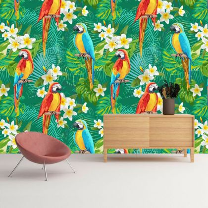 Green Tropical Forest Macaw parrot Removable Peel and Sticker Wallpaper