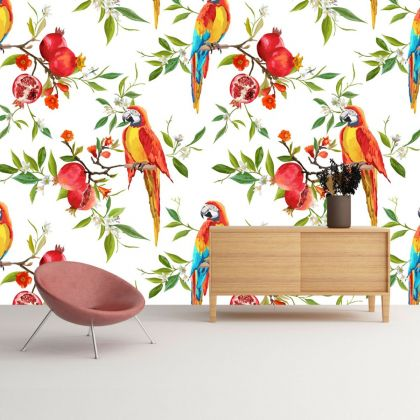 Green Tropical Forest Macaw Removable Peel and Sticker Wallpaper
