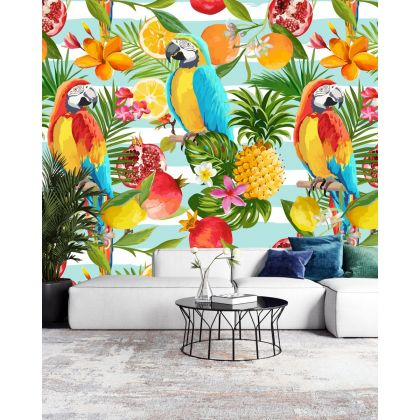 Multicolour Tropical Forest Macaw Removable Peel and Sticker Wallpaper