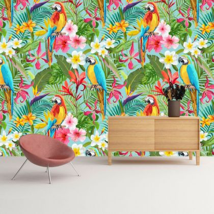 Turquise Blue Tropical Forest Macaw Removable Peel and Sticker Wallpaper