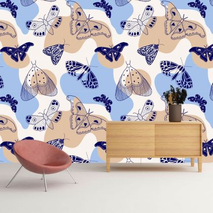 Abstract Pattern Butterfly Removable Peel and Stick Wallpaper