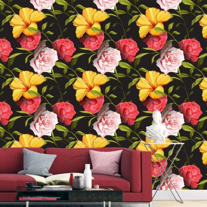 Floral Roses and Hibiscus Removable Wallpaper, Vintage Wall Mural