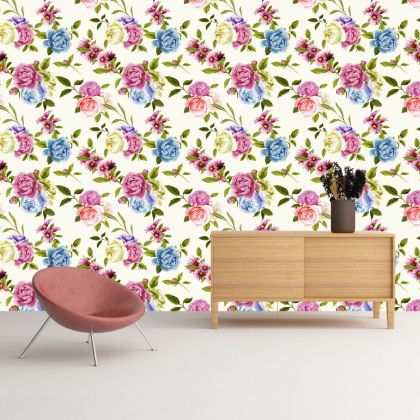 Multicolor Floral Roses Removable Wallpaper, Vintage Wall Mural