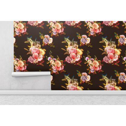 Vintage Floral Roses Removable Wallpaper, Vintage Wall Mural