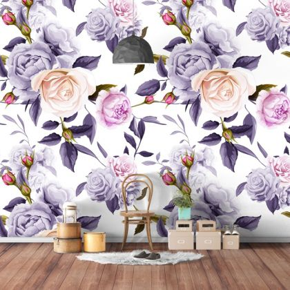 Purple and Pink Floral Roses Removable Wallpaper, Vintage Wall Mural