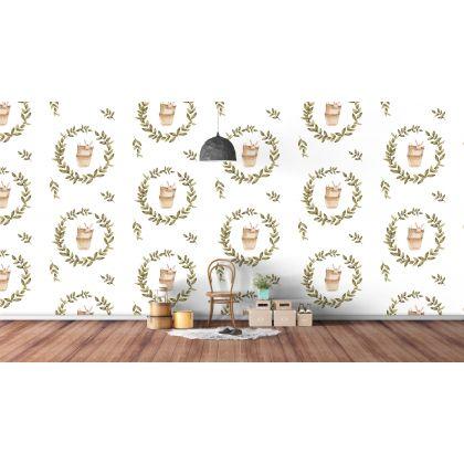 Bunny Wreath Kids Room Wallpaper Self Adhesive Wall Mural
