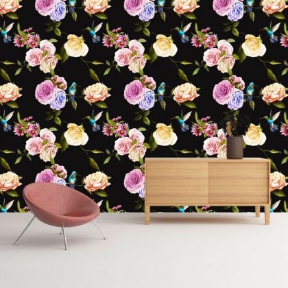 Dark Floral Wallpaper Removable Peel and Stick Self Adhesive Watercolor Large Flowers and Humming bird Wall Mural Decor