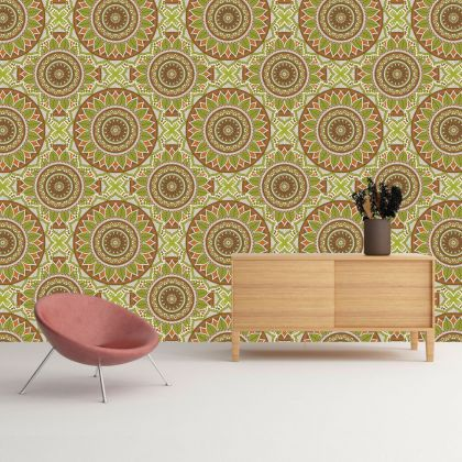 Ethnic wallpaper, self adhesive wallpaper, vintage pattern, floral ornament, peel and stick wall mural, temporary wall sticker