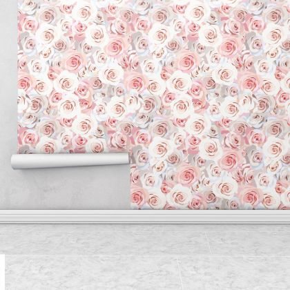 Small rose Wall Pattern Decal - Wall Decal Custom Vinyl Art Flower Stickers for Nursery, wall decor