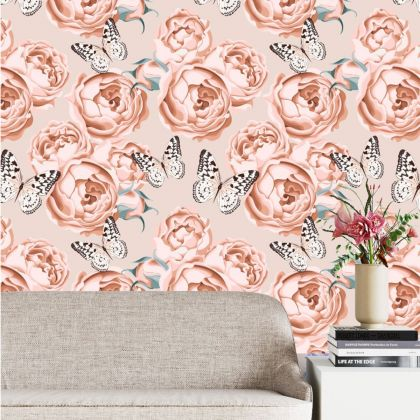 Removable Peel 'n Stick Wallpaper, Butterfly Wallpaper for Kid, Floral Wall Decor Rose Flower Wallpaper for Girl Nursery Self Adhesive Wall stickers