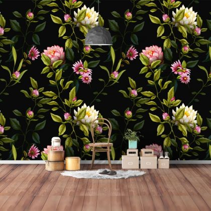 Lotus Wall Pattern Decal, Wall Decal Custom Vinyl Art Flower Stickers for Nursery, wall decor