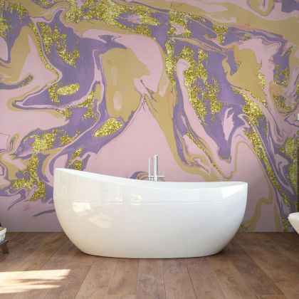 Watercolor Purple Marble Wallpaper Abstract Design Non metallic Gold Removable Wallpaper Self Adhesive Peel and Stick Wall Decor