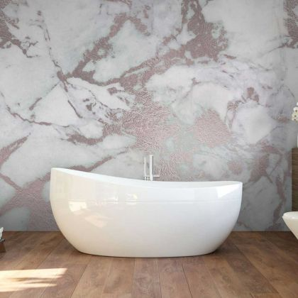 White and Rose Gold Marble Wallpaper Abstract Design Non metallic Gold Removable Wallpaper Self Adhesive Peel and Stick For Wall Decor