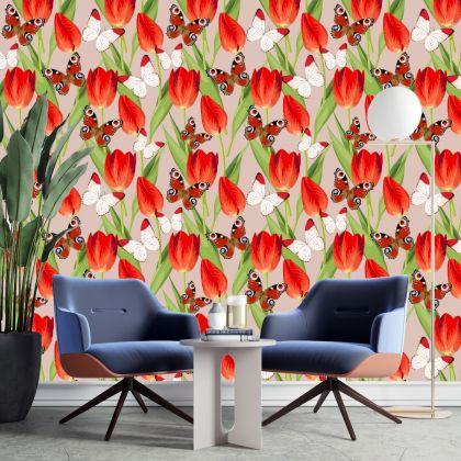 Removable Peel 'n Stick Wallpaper, Butterfly Wallpaper for Kid, Floral Wall Decor Lilly Flower Wallpaper for Girl Nursery Wall stickers