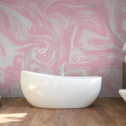 Pastel Pink and Silver Marble Wallpaper Abstract Design Non metallic Silver Removable Wallpaper Self Adhesive Peel and Stick For Wall Decor