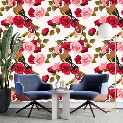 Floral Wallpaper Removable Peel and Stick Self Adhesive Watercolor Large Rose Flowers and sparrow bird Wall Mural Decor